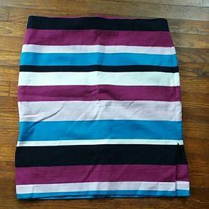 Loft purple and blue striped midi skirt